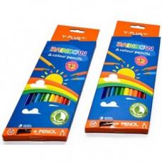 Карандаши цв.12цв+точилка Y-PLUS RainbowPX1104