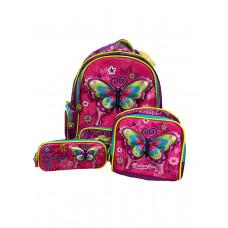 Рюкзак Lynx 3 в1 0110 (бабочки) (рюкзак с отделами + сумочка +2х секц. пенал)
