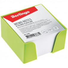 Блок для записи Berlingo, 9*9*5см, салатовый пластиковый бокс, белый