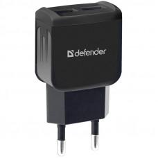 Зарядное устройство сетевое Defender EPA-13, 2xUSB, 2.1А output, пакет, черный