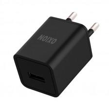 Зарядное устройство сетевое Oxion ACA-008, 1xUSB, 1А output, черный