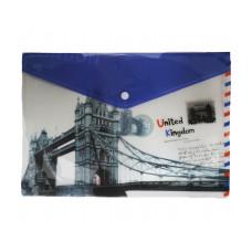 """Папка - конверт на кнопке А4 """"Лондон"""""""